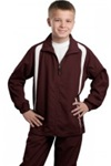 Youth Colorblock Raglan Jacket, Maroon/White, Embroidered