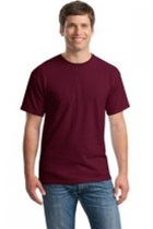 Adult 100% Cotton S/S Tee, Maroon, Screenprinted with Grey Imprint