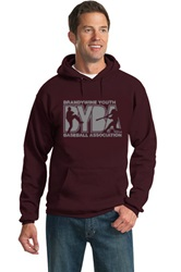 P & C Ultimate Pullover Hooded Sweatshirt, Maroon, Screenprinted