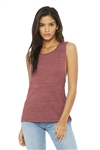 Bella ® Women's Flowy Scoop Muscle Tank, Mauve Marble, White Logo