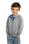 Port & Company® Toddler Core Fleece Full-Zip Hooded Sweatshirt, Athletic Heather, White Logo