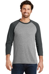 District Made Mens Perfect Tri 3/4-Sleeve Raglan (Screenprint, Full Front)