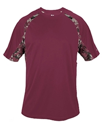 Badger Youth Digital Hook Short-Sleeve T-Shirt, Maroon, Screenprinted 1 Color, Full Front